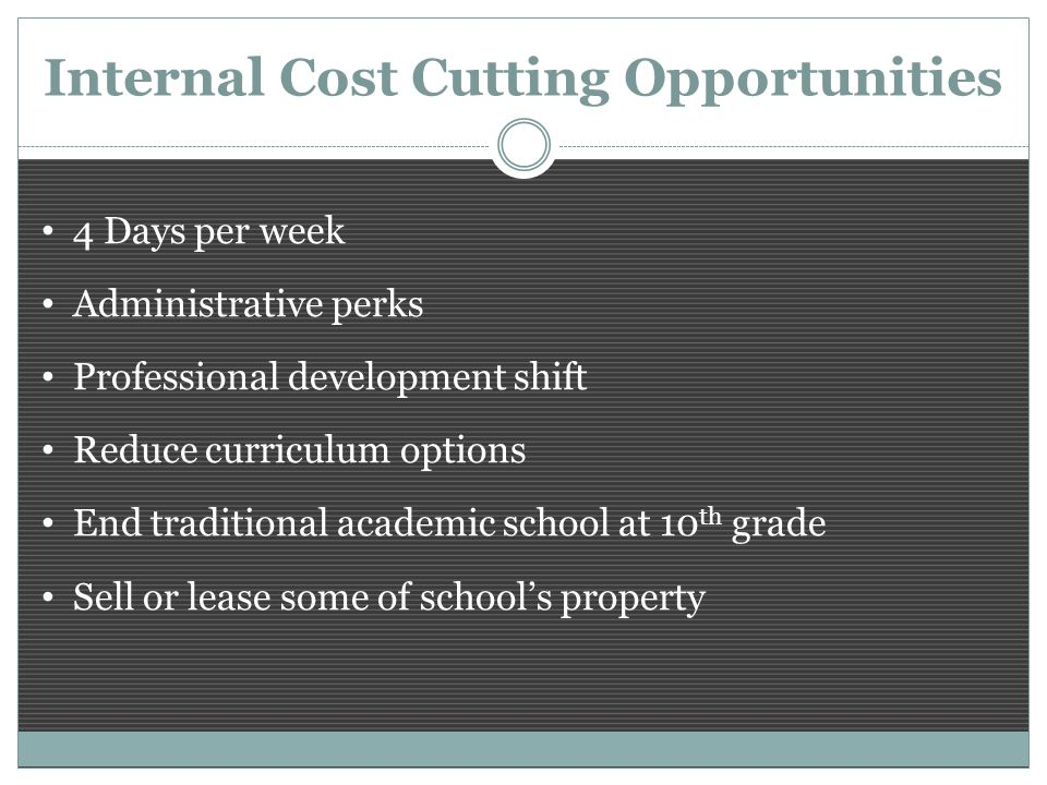 Internal Cost Cutting Opportunities 4 Days per week Administrative perks Professional development shift Reduce curriculum options End traditional academic school at 10 th grade Sell or lease some of school's property