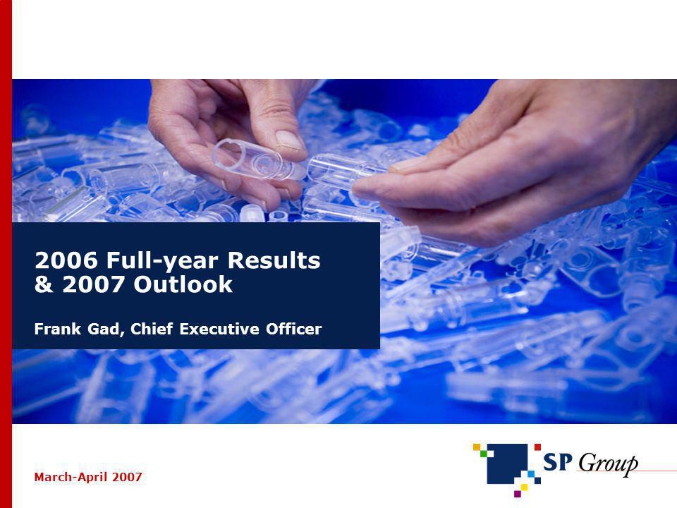 12 2006 Full-Year & 2007 Outlook – March-April 2007 / SP Group VACUUM FORMING (2) 2006: Revenue slightly better than expected 14% drop in sales to the refrigerator and freezer sector; 2 major customers closed production in Denmark in Q4 10% growth in sales to other segments: transportation equipment, the medico industry, big parts for wind turbines Stable earnings due to centralization of production in Skjern during 2005 Sales efforts strengthened significantly; objective of doubling export sales Outlook for 2007: Revenue down due to shortfall of revenue to refrigerator/freezer sector Positive earnings, but at a lower level than in 2006 DKK mio.20062005 Revenue101.0104.2 EBITDA8.48.7 Operating profit (EBIT) 5.36.3 Result2.53.4 Employees (average) 76