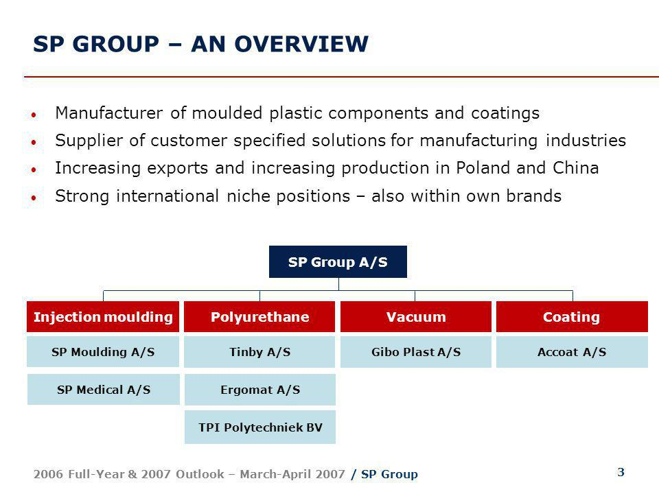 3 2006 Full-Year & 2007 Outlook – March-April 2007 / SP Group SP Group A/S Injection mouldingPolyurethaneVacuumCoating SP Moulding A/S Tinby A/S Ergom