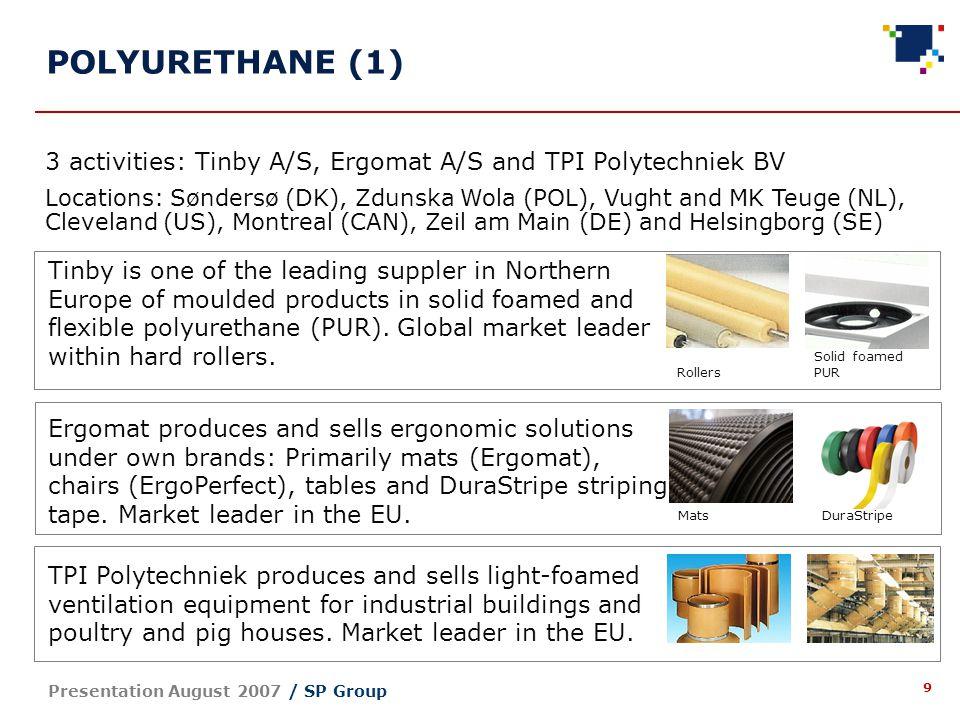 10 Presentation August 2007 / SP Group POLYURETHANE (2) 1.