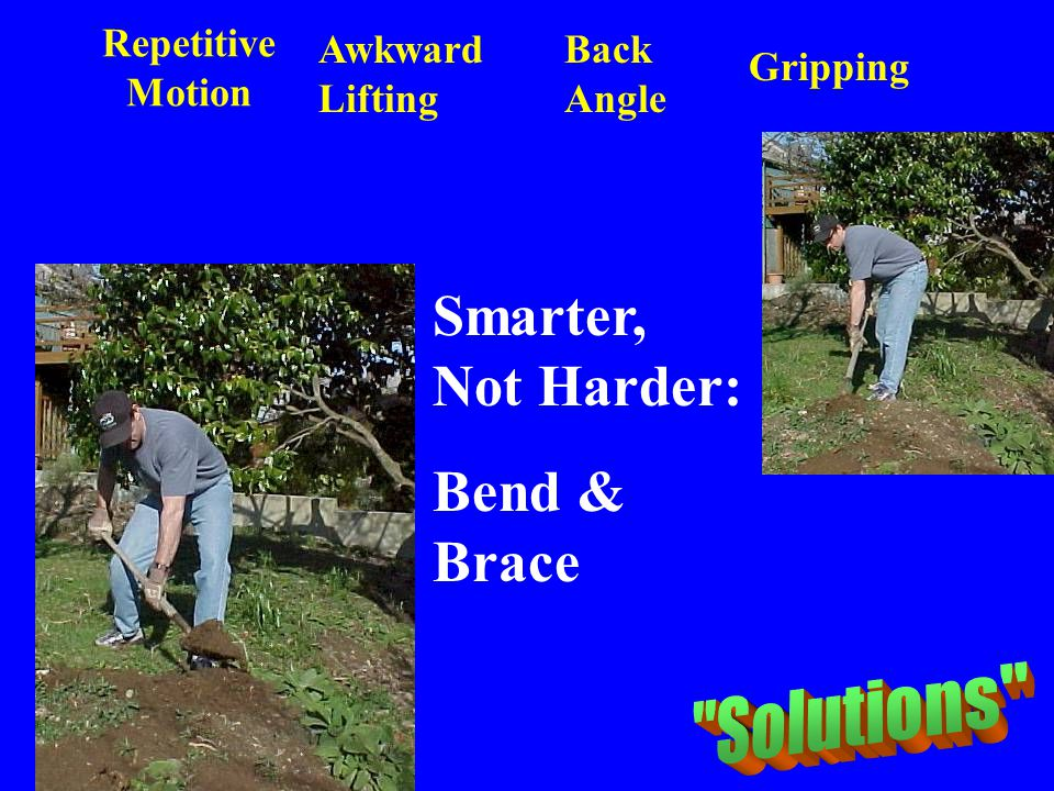 Repetitive Motion Awkward Lifting Back Angle Gripping Smarter, Not Harder: Bend & Brace