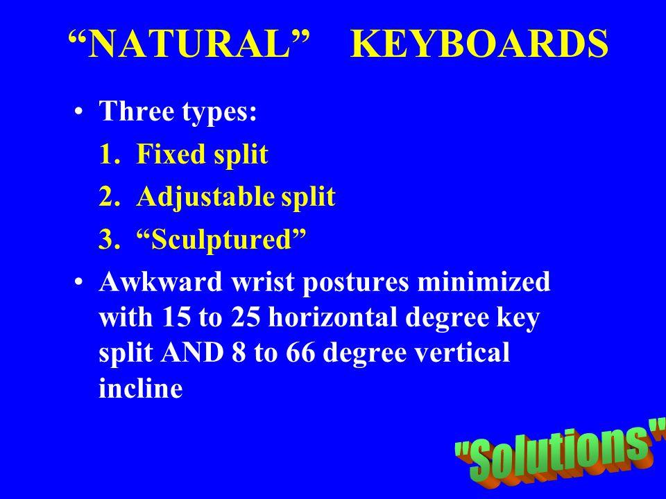 """NATURAL"" KEYBOARDS Three types: 1. Fixed split 2. Adjustable split 3. ""Sculptured"" Awkward wrist postures minimized with 15 to 25 horizontal degree k"