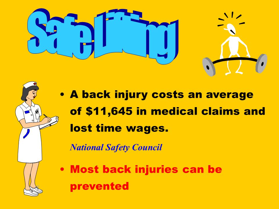 A back injury costs an average of $11,645 in medical claims and lost time wages. National Safety Council Most back injuries can be prevented
