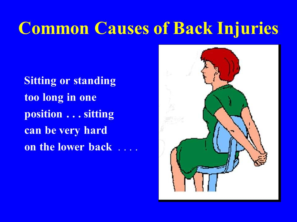 Common Causes of Back Injuries Sitting or standing too long in one position... sitting can be very hard on the lower back....