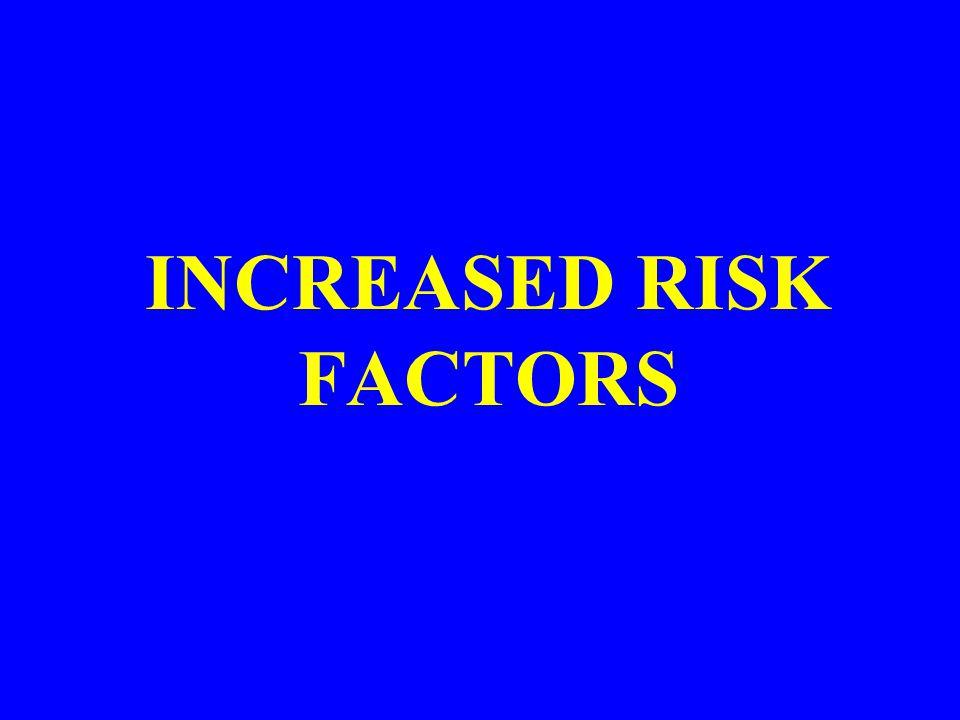 INCREASED RISK FACTORS