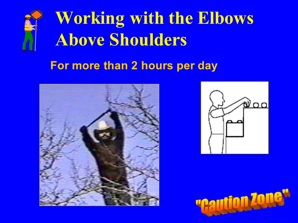 Working with the Elbows Above Shoulders For more than 2 hours per day