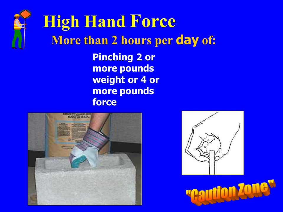 High Hand Force More than 2 hours per day of: Pinching 2 or more pounds weight or 4 or more pounds force