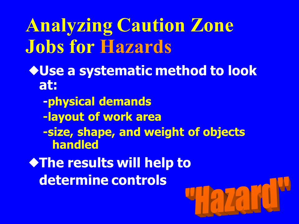 Analyzing Caution Zone Jobs for Hazards  Use a systematic method to look at: -physical demands -layout of work area -size, shape, and weight of objec