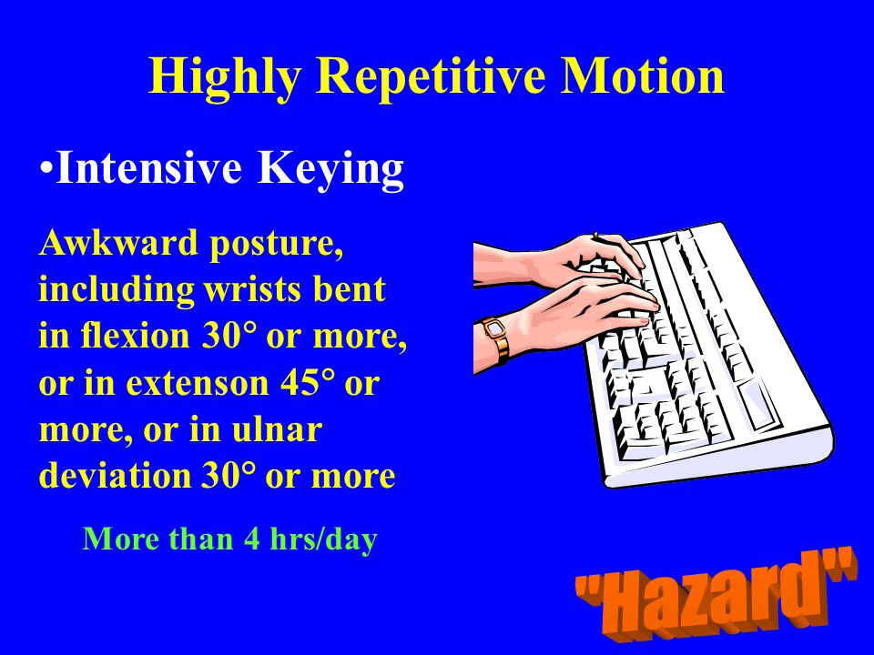 Highly Repetitive Motion Intensive Keying Awkward posture, including wrists bent in flexion 30  or more, or in extenson 45  or more, or in ulnar dev
