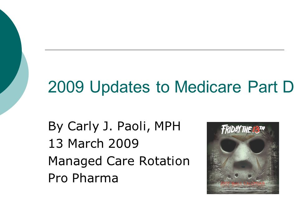 2009 Updates to Medicare Part D By Carly J.