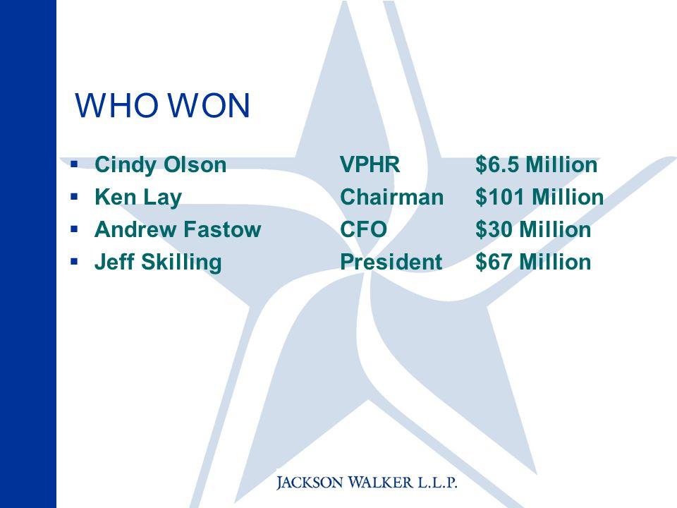 WHO WON  Cindy Olson VPHR$6.5 Million  Ken LayChairman$101 Million  Andrew FastowCFO$30 Million  Jeff SkillingPresident$67 Million