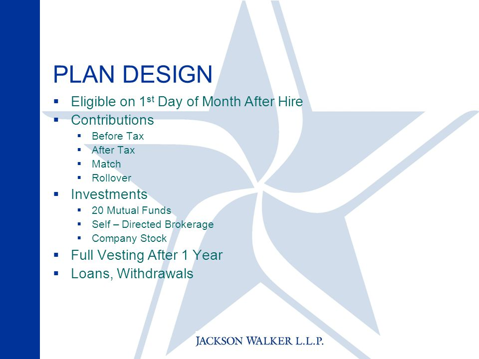 PLAN DESIGN  Eligible on 1 st Day of Month After Hire  Contributions  Before Tax  After Tax  Match  Rollover  Investments  20 Mutual Funds  Self – Directed Brokerage  Company Stock  Full Vesting After 1 Year  Loans, Withdrawals