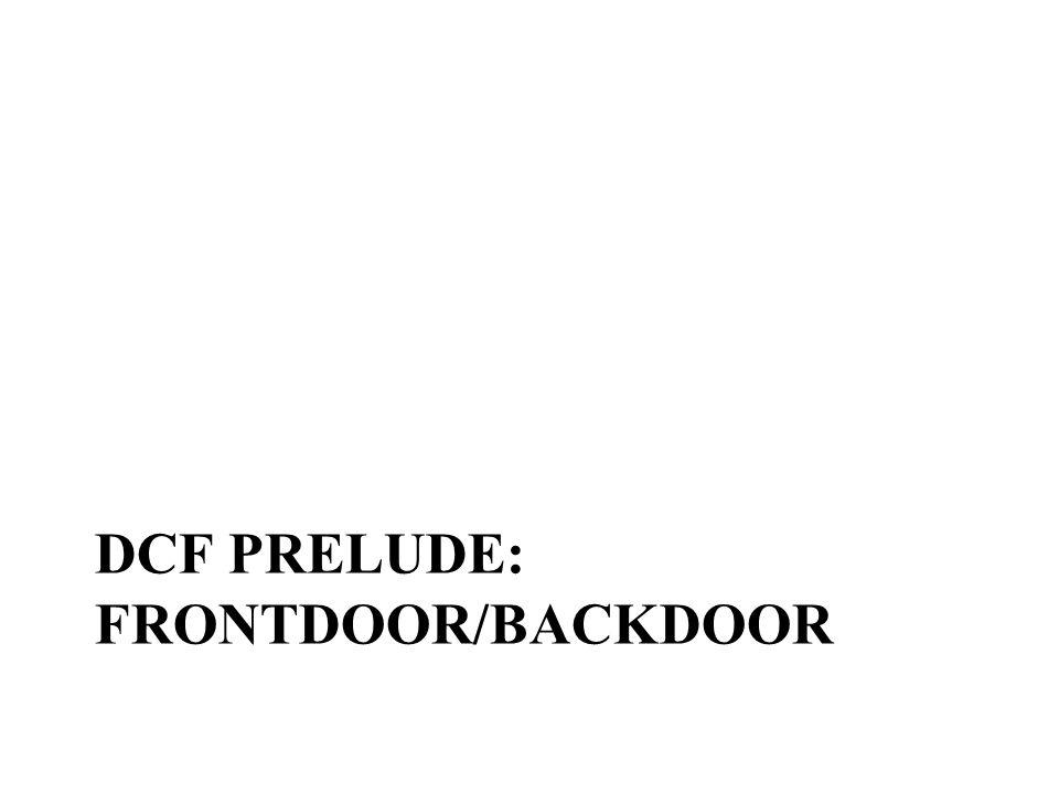 DCF PRELUDE: FRONTDOOR/BACKDOOR