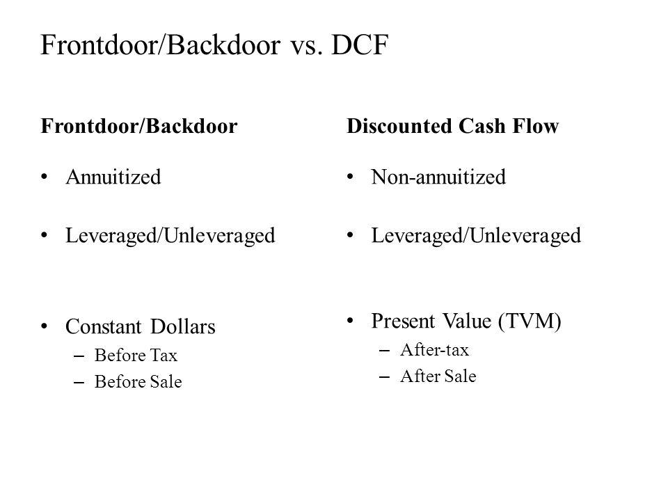 Frontdoor/Backdoor vs.