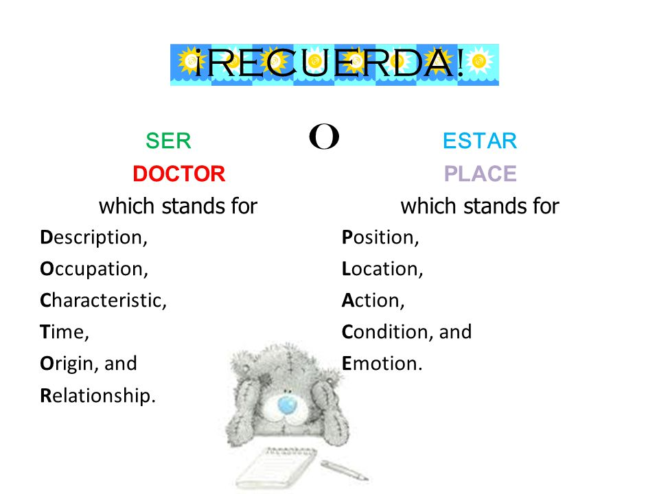 ¡RECUERDA! SER DOCTOR which stands for Description, Occupation, Characteristic, Time, Origin, and Relationship. ESTAR PLACE which stands for Position,