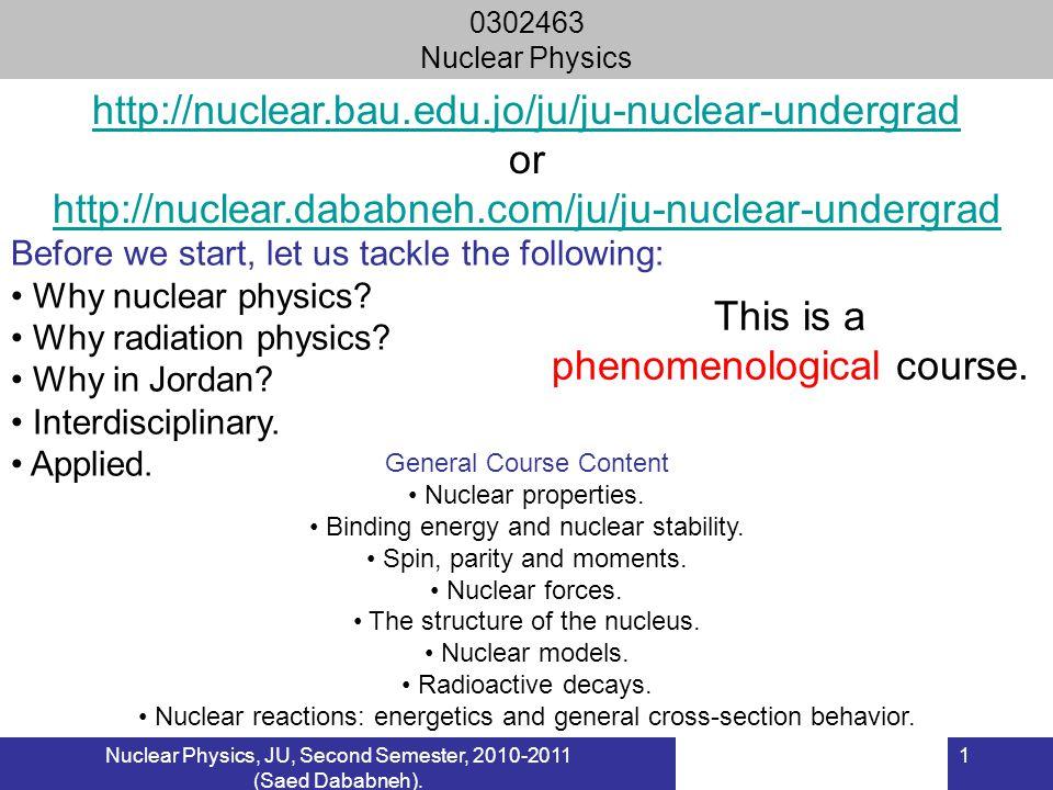 Nuclear Physics, JU, Second Semester, 2010-2011 (Saed Dababneh).