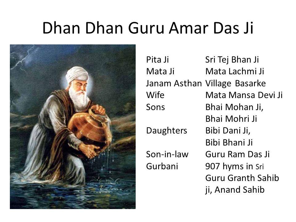 Dhan Dhan Guru Amar Das Ji Pita JiSri Tej Bhan Ji Mata JiMata Lachmi Ji Janam AsthanVillage Basarke WifeMata Mansa Devi Ji SonsBhai Mohan Ji, Bhai Moh