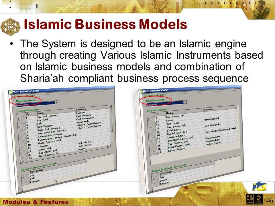 The System is designed to be an Islamic engine through creating Various Islamic Instruments based on Islamic business models and combination of Sharia'ah compliant business process sequence Islamic Business Models Modules & Features
