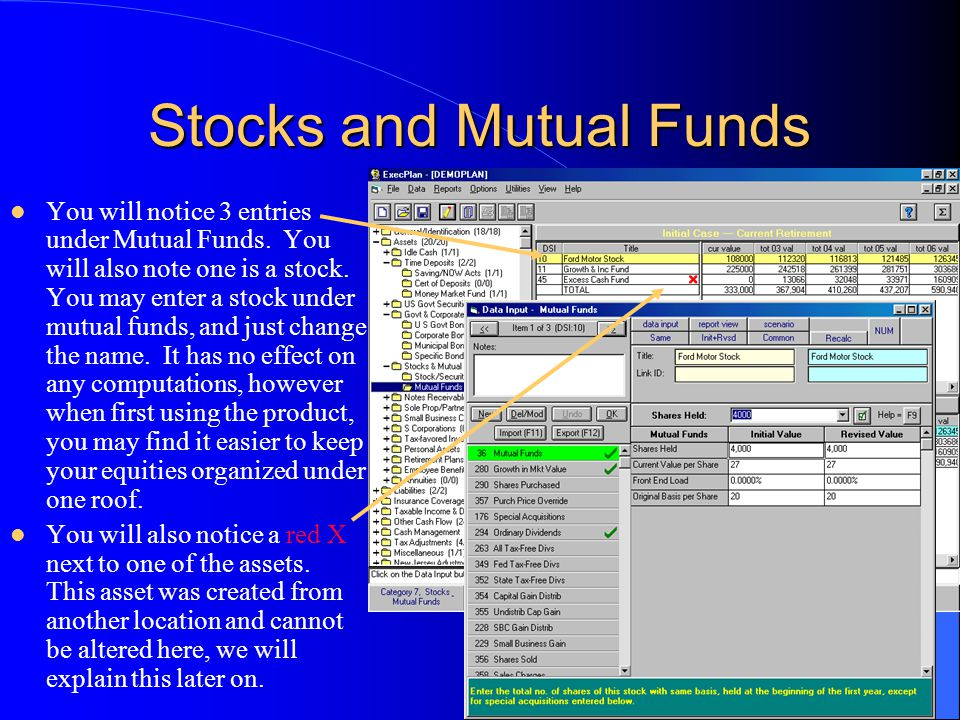 Stocks and Mutual Funds You will notice 3 entries under Mutual Funds.