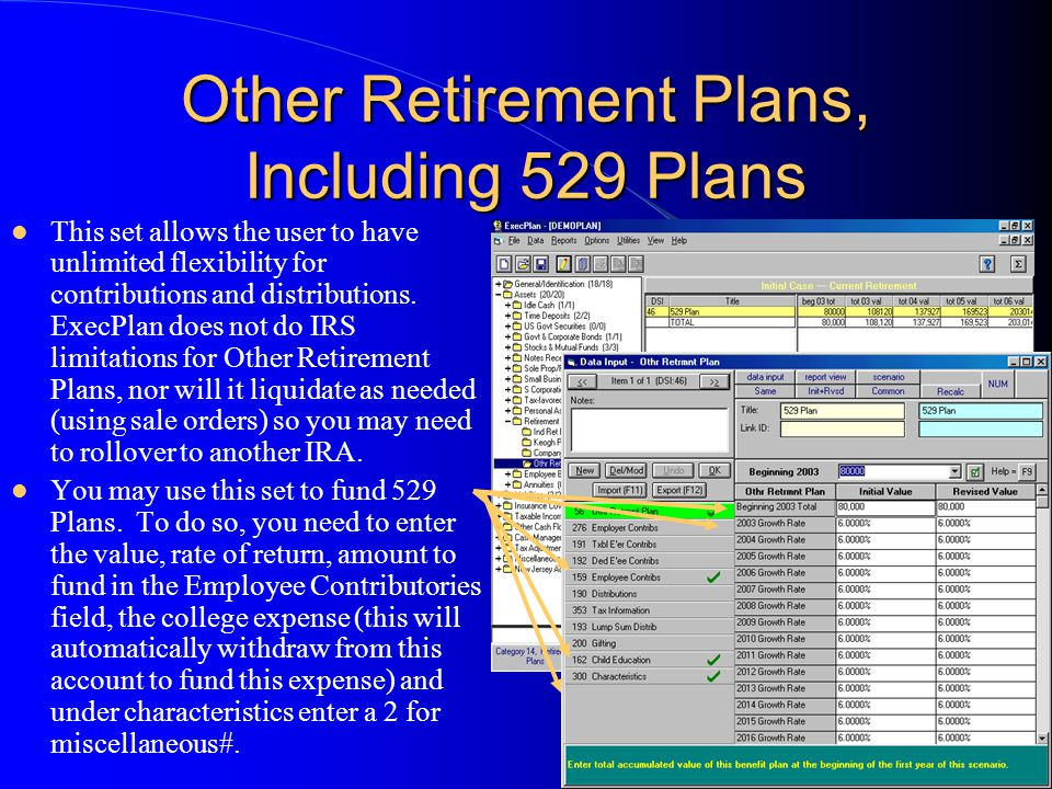 Other Retirement Plans, Including 529 Plans This set allows the user to have unlimited flexibility for contributions and distributions. ExecPlan does