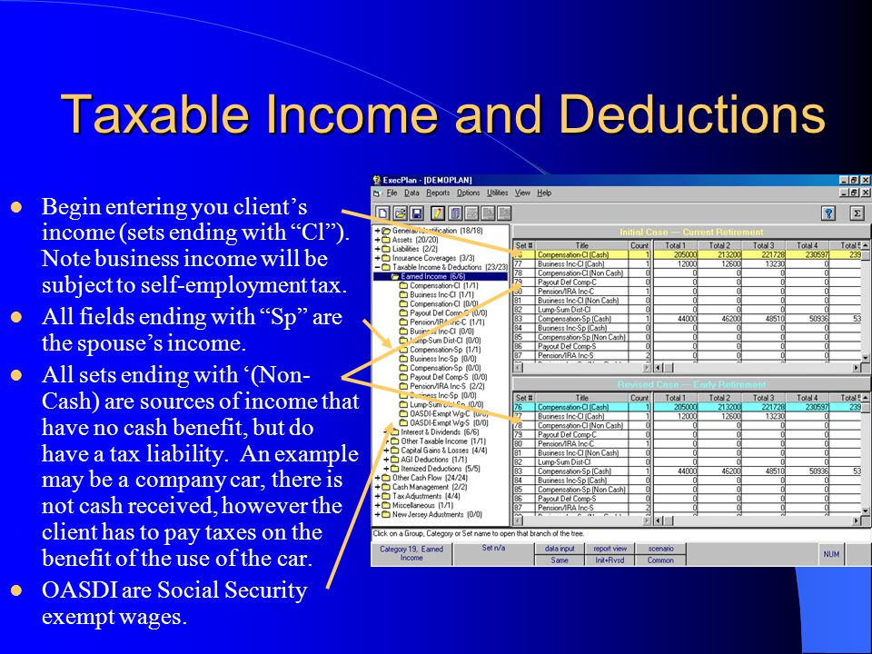 Taxable Income and Deductions Begin entering you client's income (sets ending with Cl ).