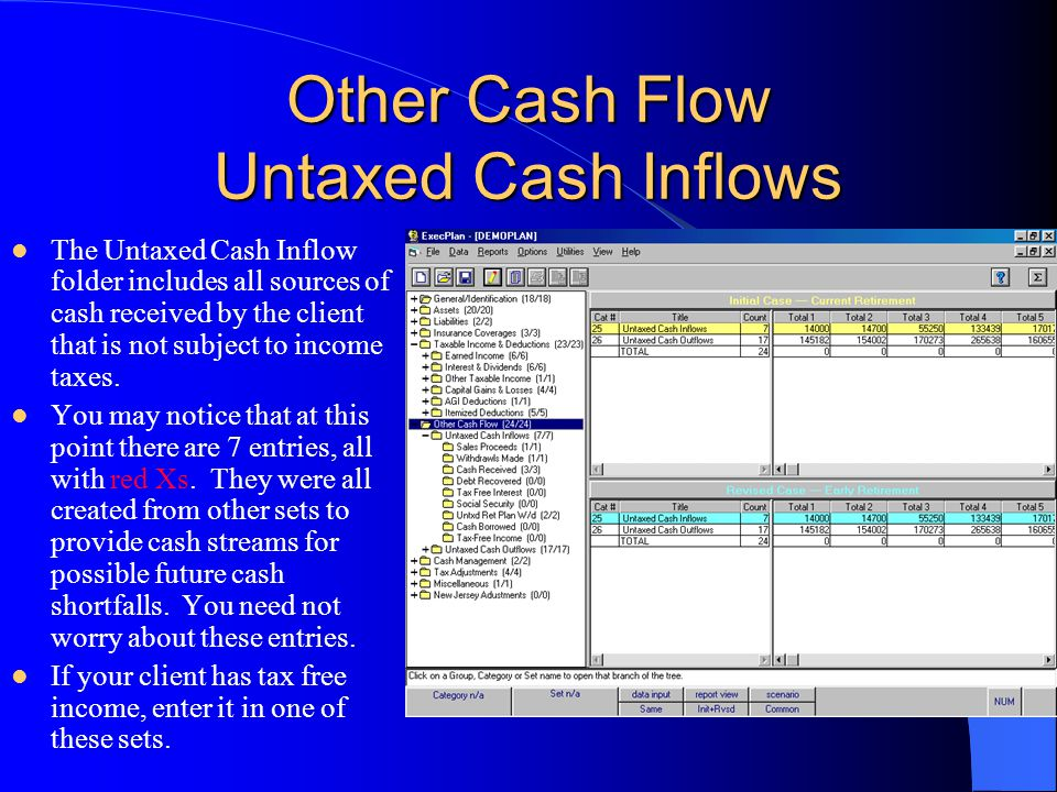 Other Cash Flow Untaxed Cash Inflows The Untaxed Cash Inflow folder includes all sources of cash received by the client that is not subject to income taxes.
