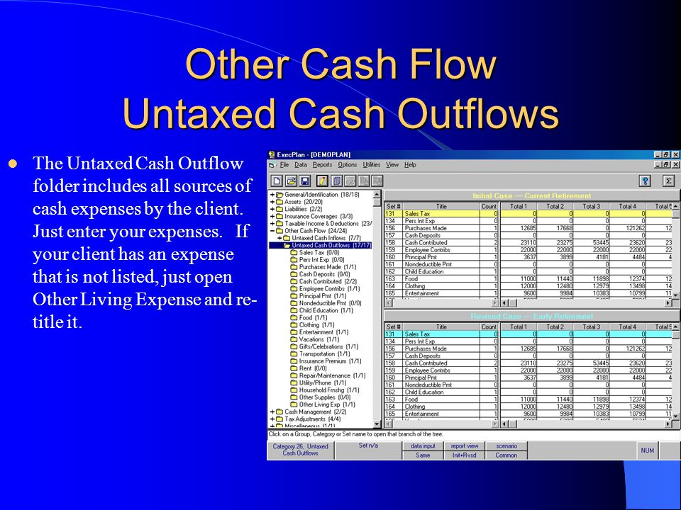 Other Cash Flow Untaxed Cash Outflows The Untaxed Cash Outflow folder includes all sources of cash expenses by the client.