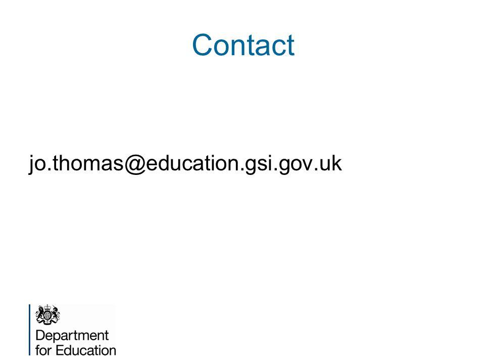 Contact jo.thomas@education.gsi.gov.uk