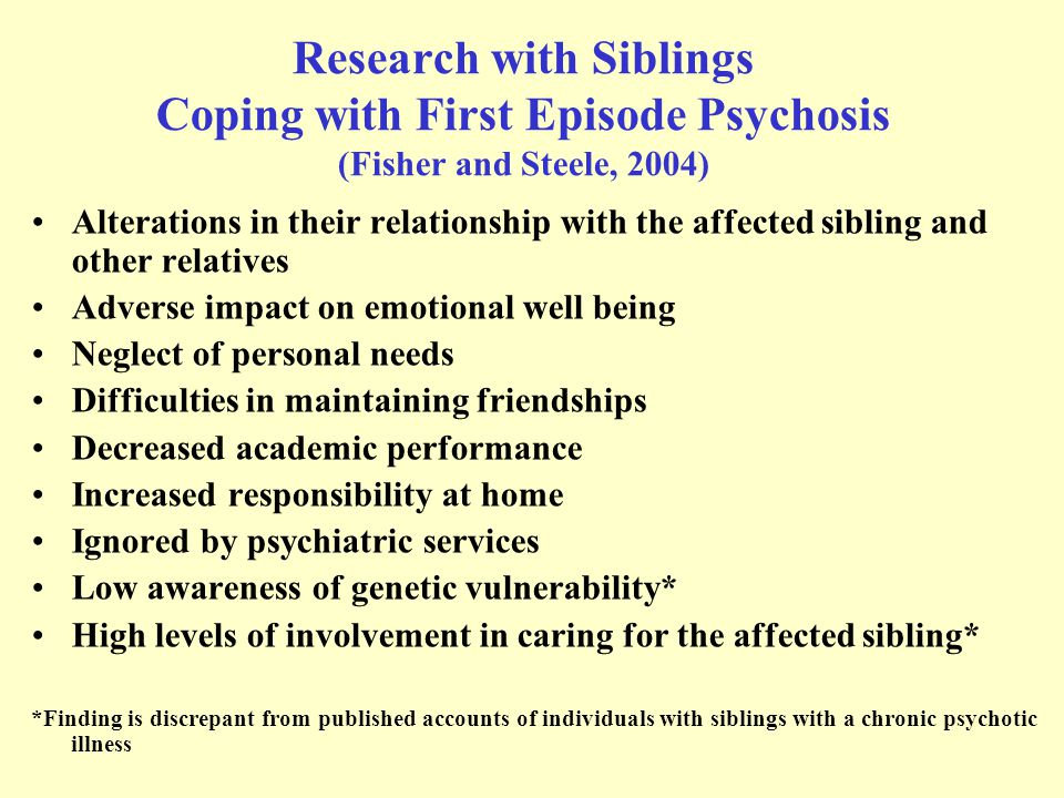 What is the likelihood of siblings coping with early psychosis.