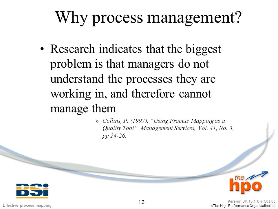 Version JP.10.1-UK Oct 03  The High Performance Organisation Ltd 12 Effective process mapping Why process management? Research indicates that the big