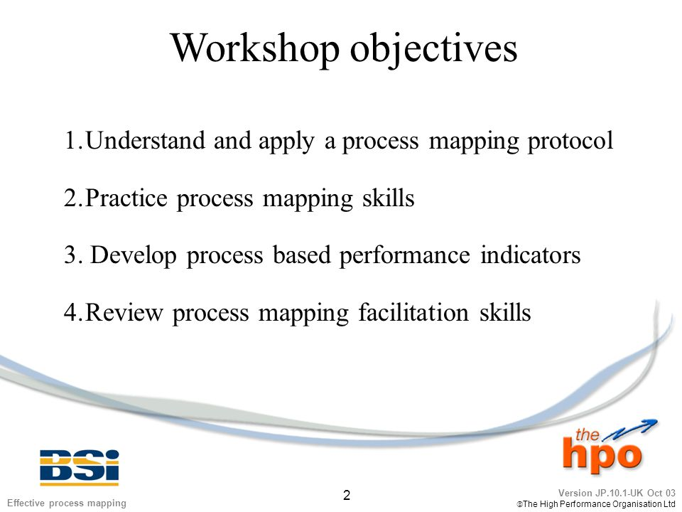 Version JP.10.1-UK Oct 03  The High Performance Organisation Ltd 33 Effective process mapping Exercise 4 1.