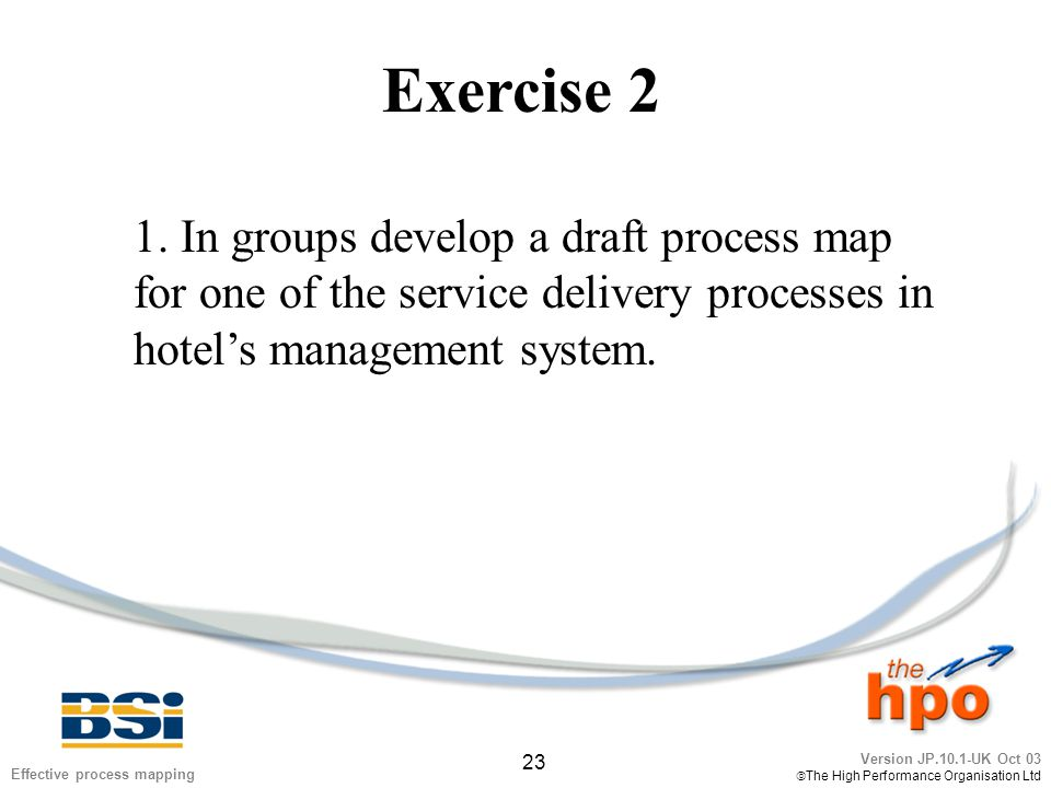 Version JP.10.1-UK Oct 03  The High Performance Organisation Ltd 23 Effective process mapping Exercise 2 1. In groups develop a draft process map for
