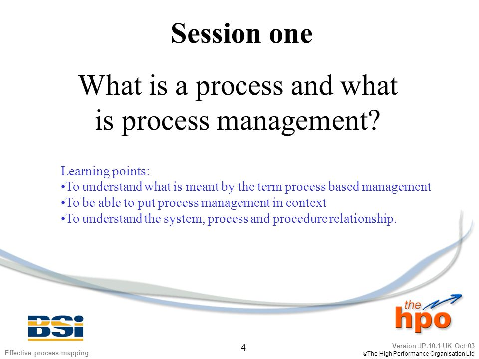 Version JP.10.1-UK Oct 03  The High Performance Organisation Ltd 4 Effective process mapping Session one What is a process and what is process manage