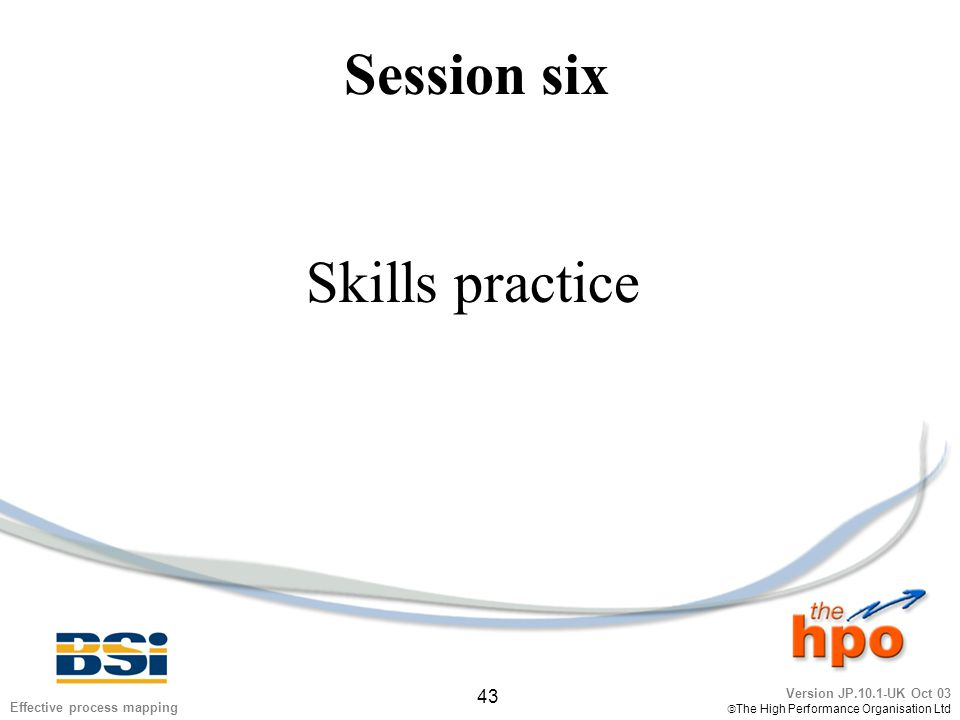 Version JP.10.1-UK Oct 03  The High Performance Organisation Ltd 43 Effective process mapping Session six Skills practice