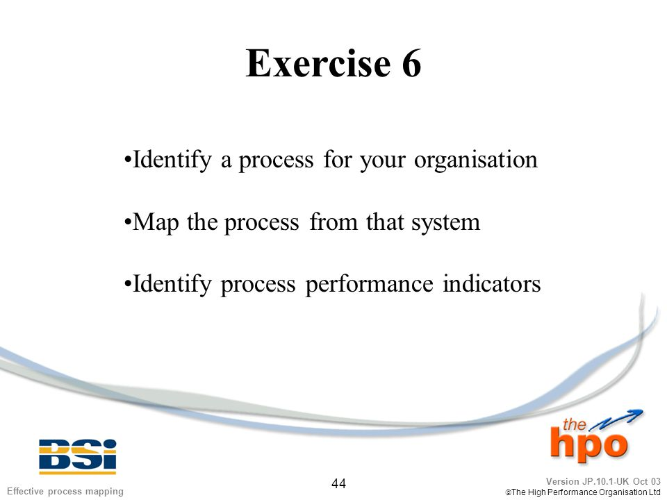 Version JP.10.1-UK Oct 03  The High Performance Organisation Ltd 44 Effective process mapping Exercise 6 Identify a process for your organisation Map the process from that system Identify process performance indicators