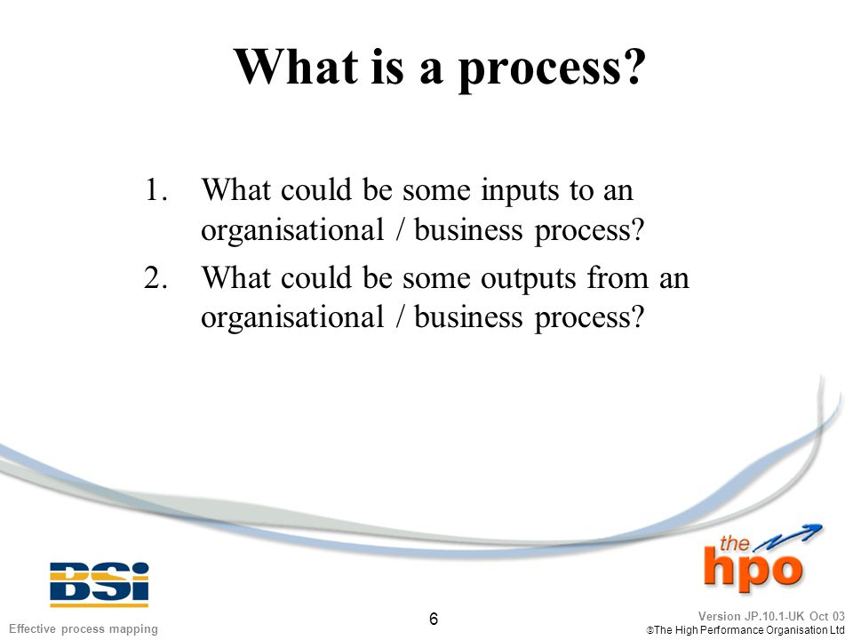 Version JP.10.1-UK Oct 03  The High Performance Organisation Ltd 27 Effective process mapping Process map: example two 'Comments?'