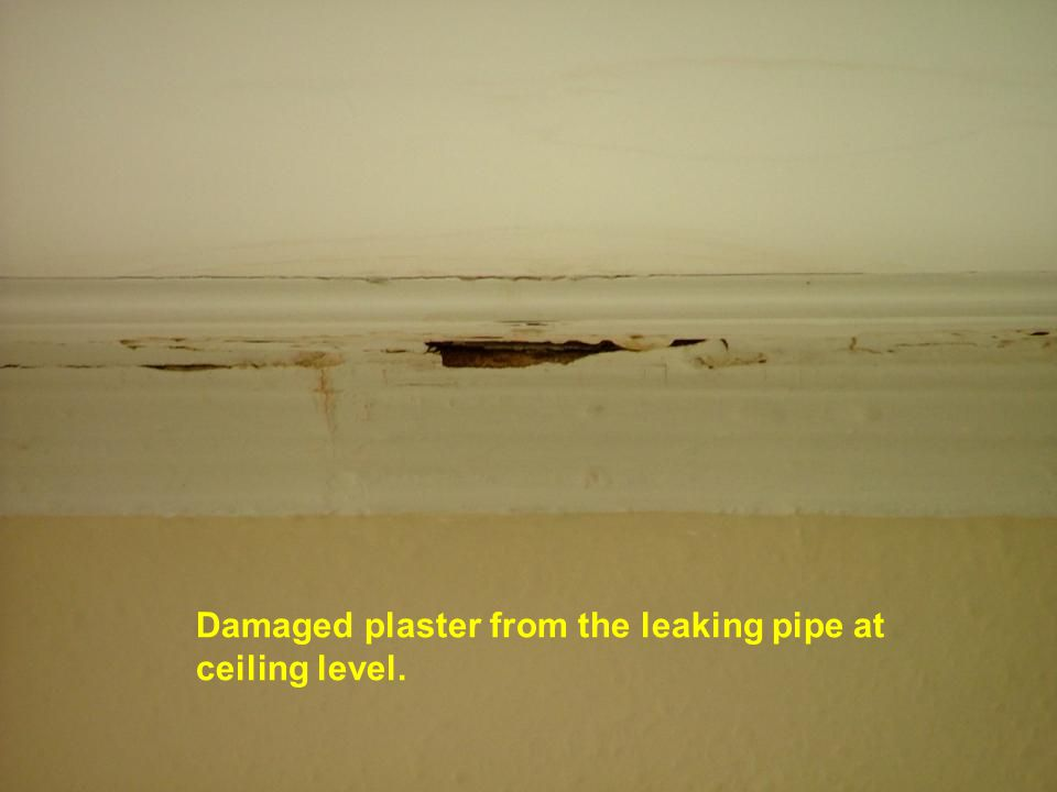 Damaged plaster from the leaking pipe at ceiling level.