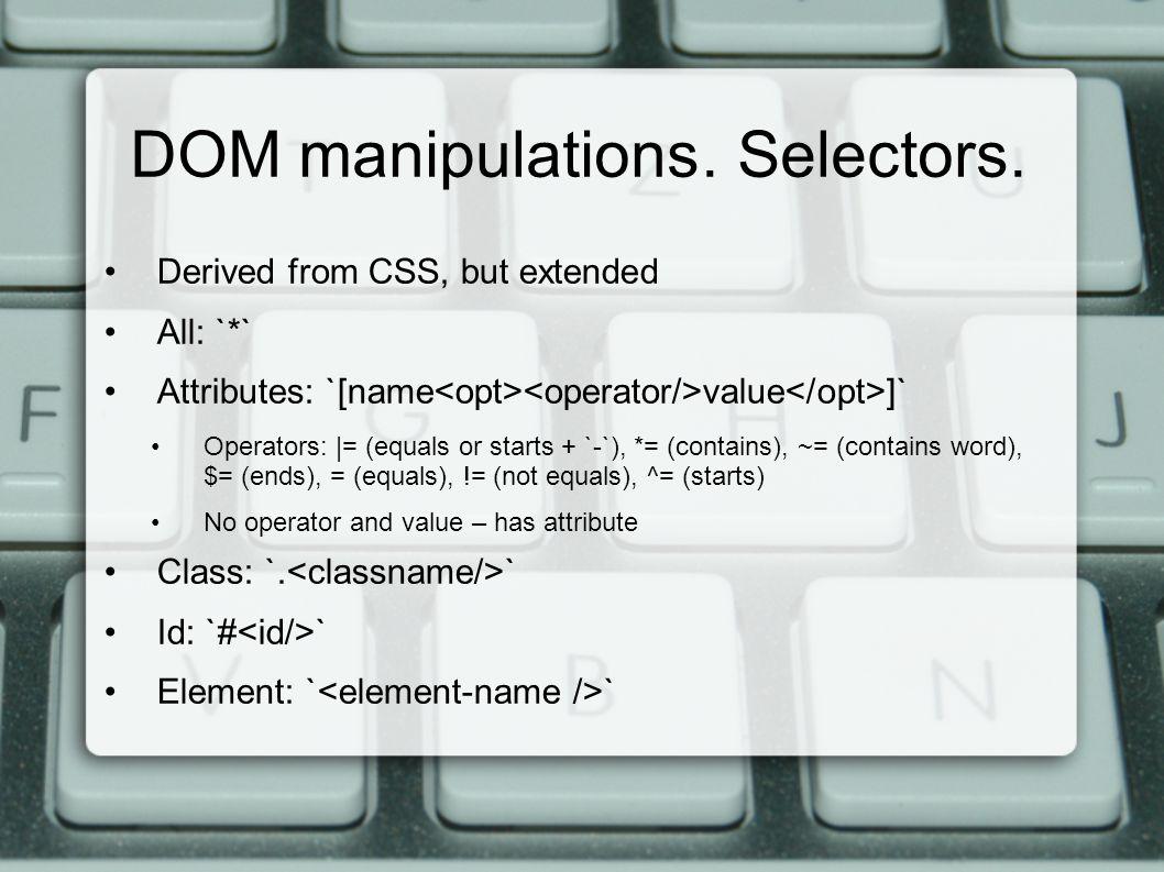 DOM manipulations. Selectors.
