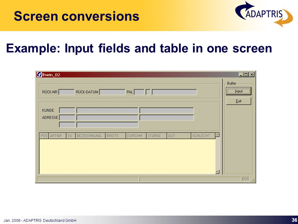 Jan. 2006 - ADAPTRIS Deutschland GmbH 36 Example: Input fields and table in one screen Screen conversions
