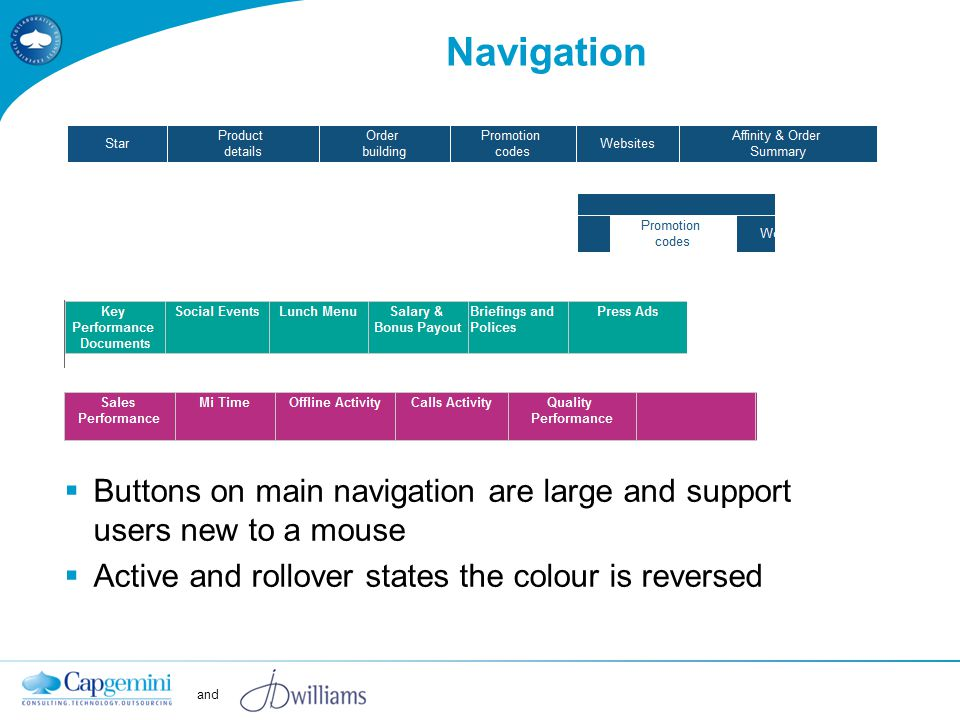 and Navigation  Buttons on main navigation are large and support users new to a mouse  Active and rollover states the colour is reversed