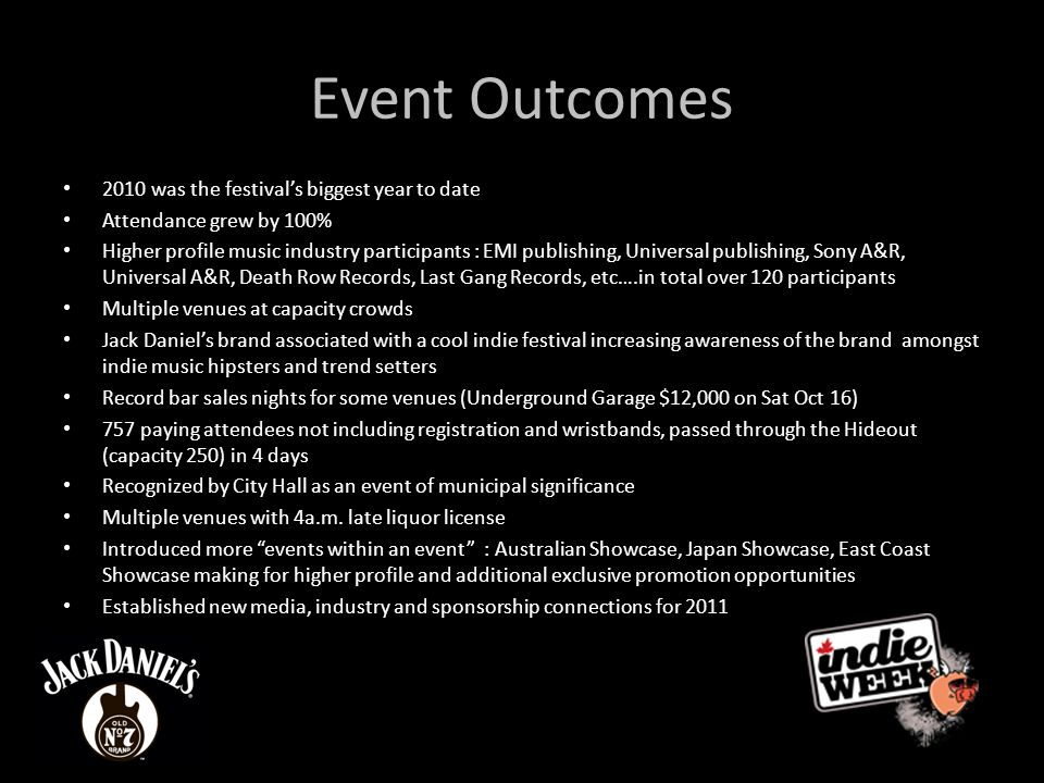 Event Outcomes 2010 was the festival's biggest year to date Attendance grew by 100% Higher profile music industry participants : EMI publishing, Universal publishing, Sony A&R, Universal A&R, Death Row Records, Last Gang Records, etc….in total over 120 participants Multiple venues at capacity crowds Jack Daniel's brand associated with a cool indie festival increasing awareness of the brand amongst indie music hipsters and trend setters Record bar sales nights for some venues (Underground Garage $12,000 on Sat Oct 16) 757 paying attendees not including registration and wristbands, passed through the Hideout (capacity 250) in 4 days Recognized by City Hall as an event of municipal significance Multiple venues with 4a.m.