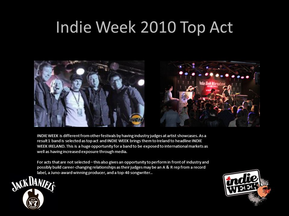 Indie Week 2010 Top Act These Electric Lives INDIE WEEK is different from other festivals by having industry judges at artist showcases.