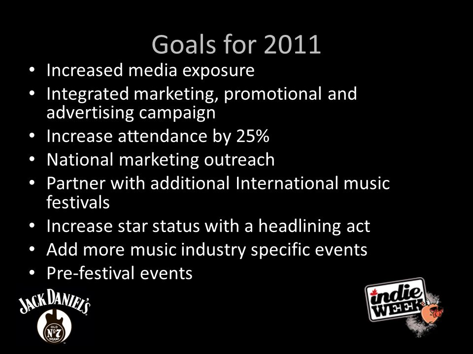 Goals for 2011 Increased media exposure Integrated marketing, promotional and advertising campaign Increase attendance by 25% National marketing outreach Partner with additional International music festivals Increase star status with a headlining act Add more music industry specific events Pre-festival events