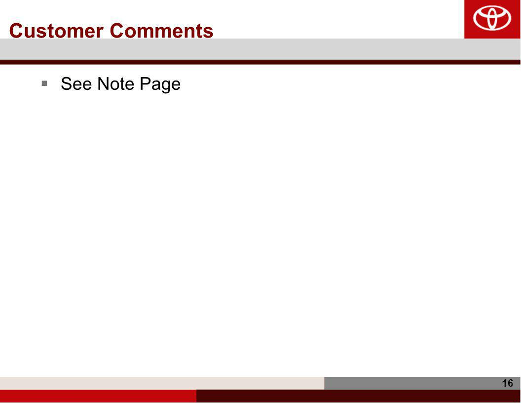 16 Customer Comments  See Note Page