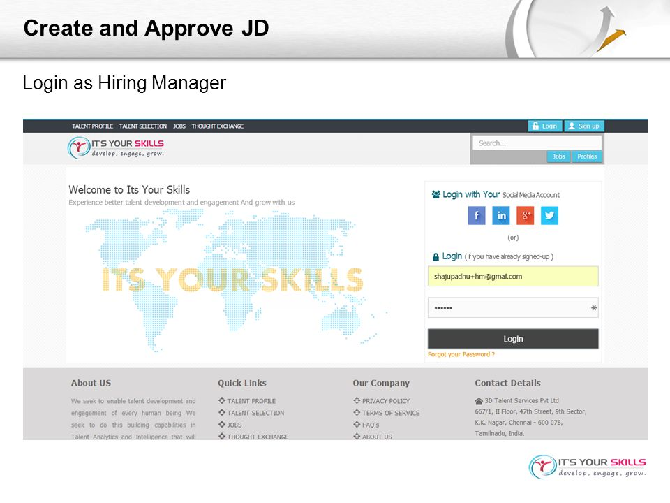 Create and Approve JD Login as Hiring Manager