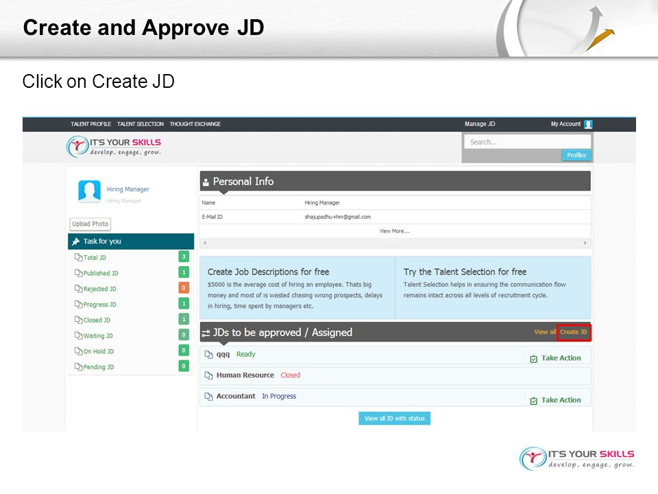 Create and Approve JD Click on Create JD