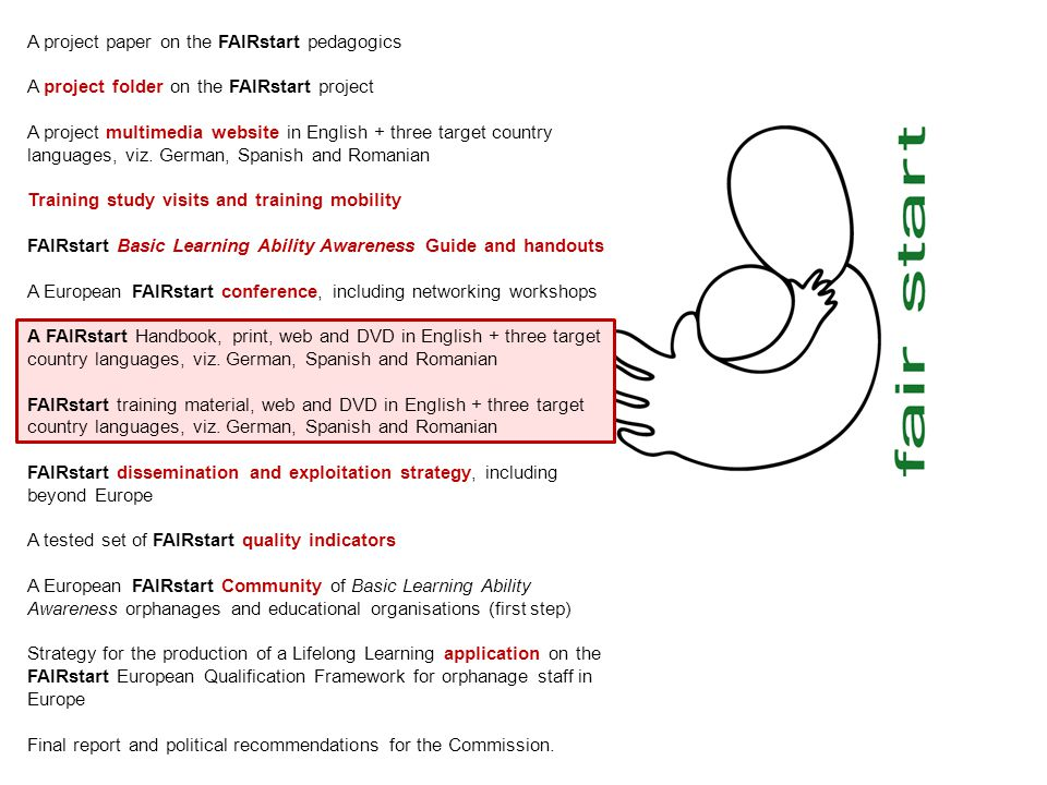 A project paper on the FAIRstart pedagogics A project folder on the FAIRstart project A project multimedia website in English + three target country languages, viz.