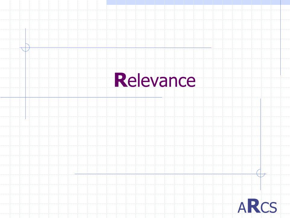 R elevance A R CS