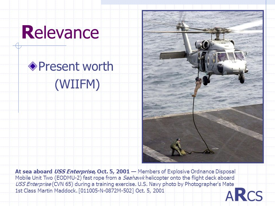 R elevance Present worth (WIIFM) A R CS At sea aboard USS Enterprise, Oct.