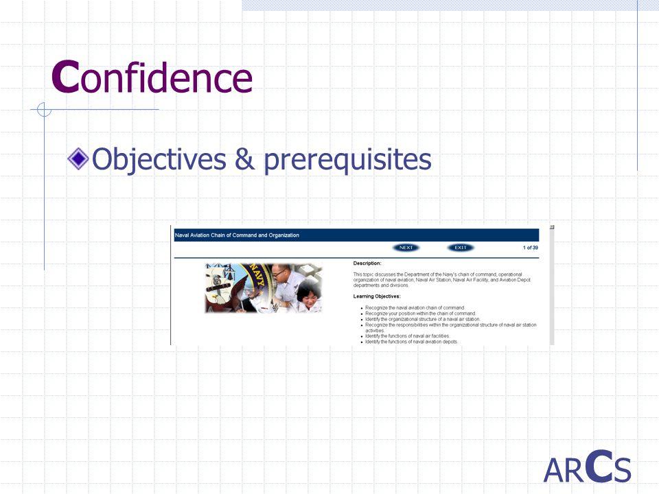 C onfidence Objectives & prerequisites AR C S